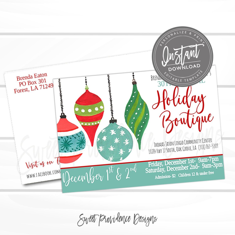 Church Editable Printable Flyer Template Christmas Holiday Fair Fest Vendor market Instant Access Craft Show Postcard School Flyer